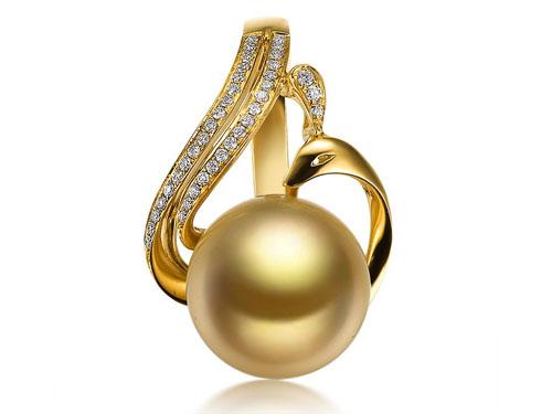 【凤凰仙姿】 天然南洋金珍珠黄18K金女士吊坠
