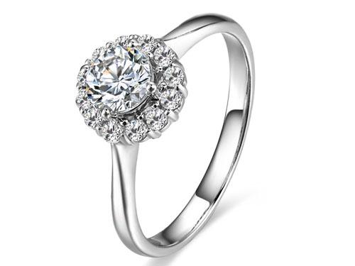 【美丽人生】 白18K金25分/0.25克拉钻石女士戒指