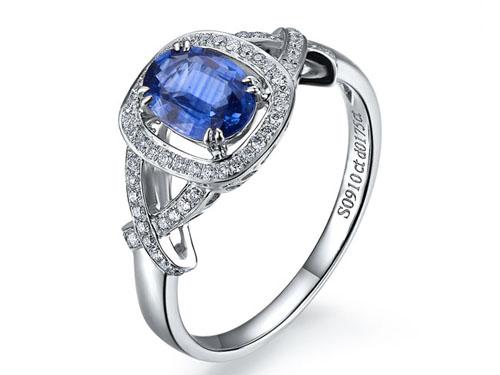 【爱倾城】 白18K金天然蓝宝石女士戒指