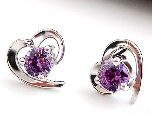 紫水晶耳钉