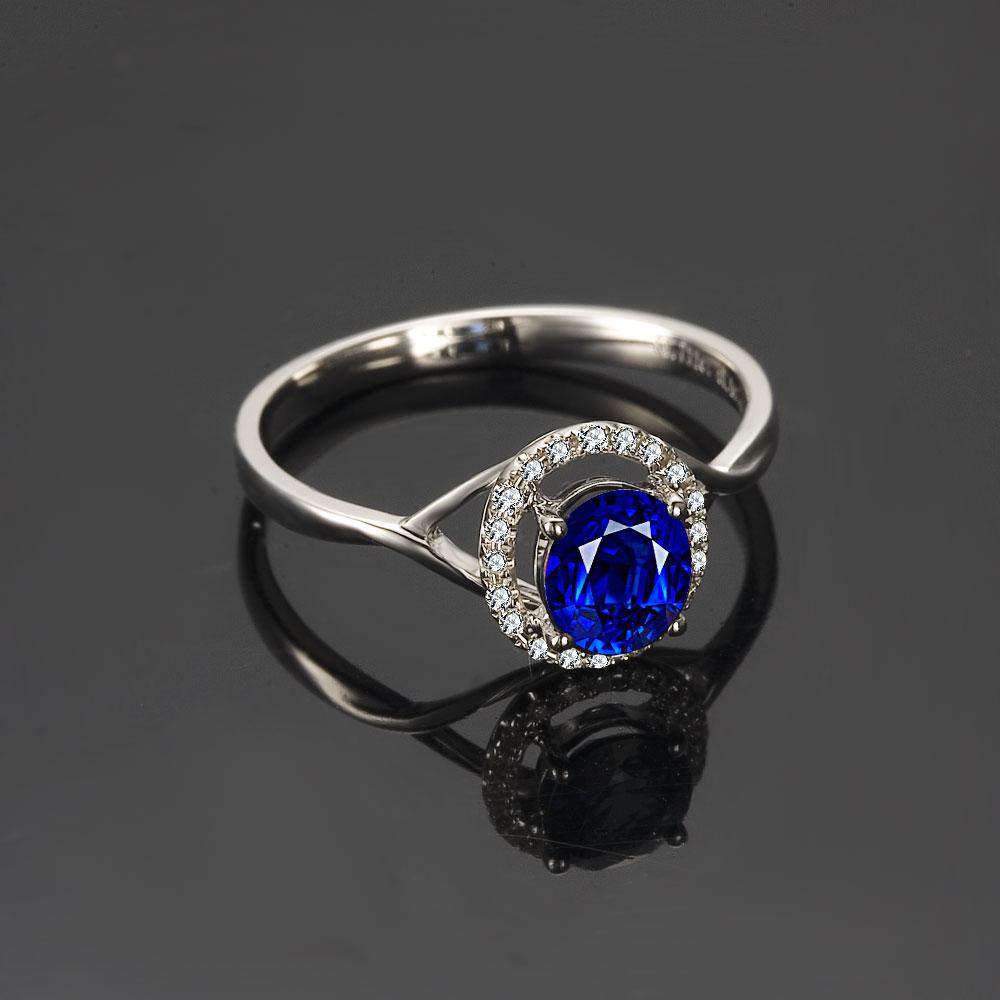 》》点击进入【专一的爱】 白18k金天然蓝宝石戒指