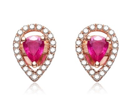【双心】 18K玫瑰金红宝石女士耳环