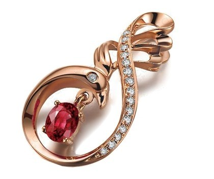 【凤舞九天 】 天然红宝石玫瑰金女士吊坠项链