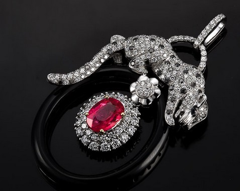 【晗月】 白18k金红宝石钻石吊坠项链 缅甸天然红宝石