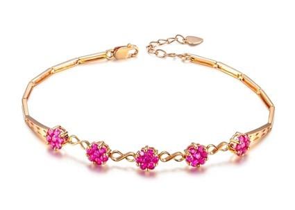 【红色心情】 天然红宝石玫瑰金女士手链