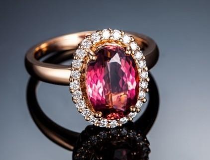 【焰焰之光】 玫瑰金女士红碧玺戒指