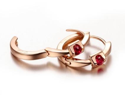 【倾心】 天然红宝石玫瑰金女士耳环