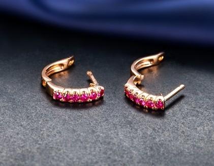【涟漪】 天然红宝石黄18K金女士耳环