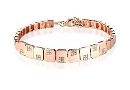 【竹简】 19分18K彩金手链天然南非圆钻石钻石手链手镯 珠宝正品