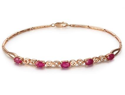 【星光】 天然红宝石玫瑰金女士手链