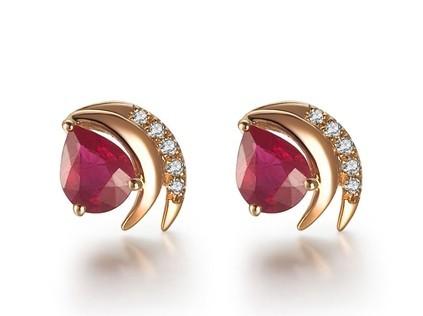 【赤焰流心】 天然红宝石玫瑰金女士耳钉