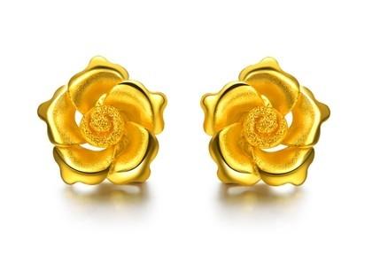 【富贵牡丹】 足金/黄金耳钉 婚嫁黄金套件结婚套装