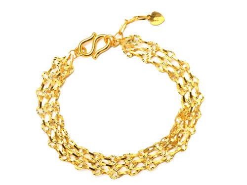 周六福黄金手链-镂空拼接
