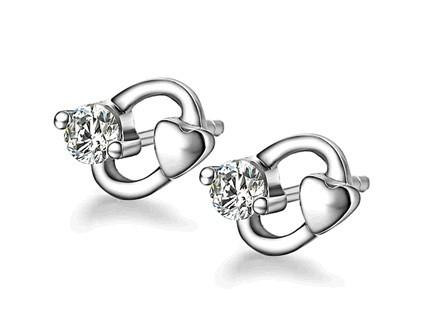 心律 结婚钻石耳钉耳环 白18K金25分/0.25克拉钻石女士耳钉