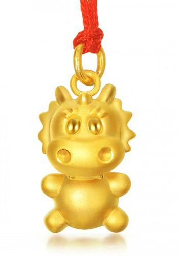 周生生黄金十二生肖-祈福铃铛吊坠-龙