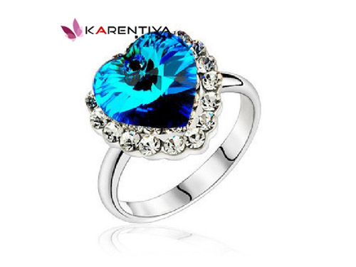 蓝水晶戒指-海洋之心