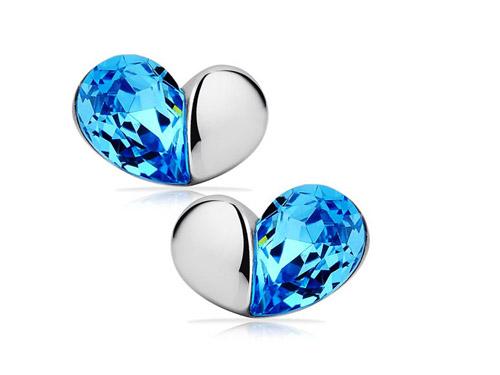 蓝水晶耳钉-爱韩版水晶