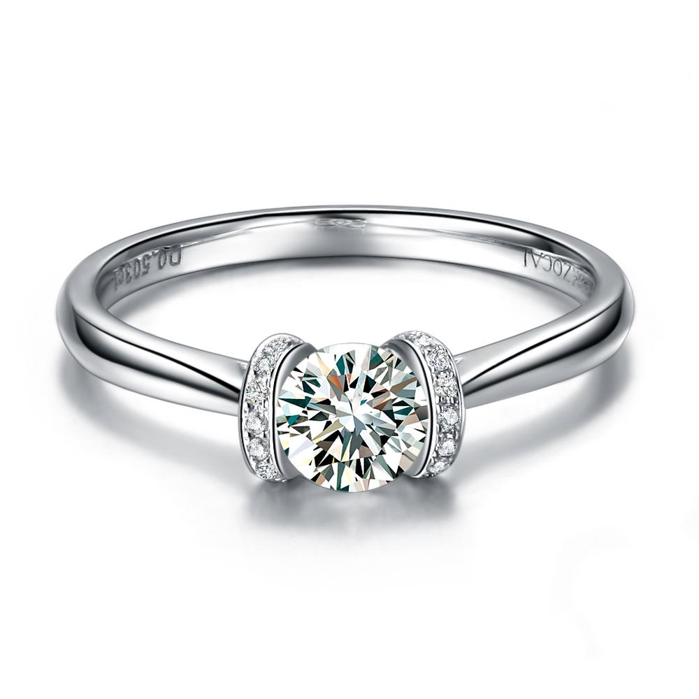 【巴黎印象】 白18k金30分/0.3克拉钻石戒指