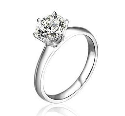 永恒 100分VVS一克拉钻石戒指结婚钻戒铂金女戒