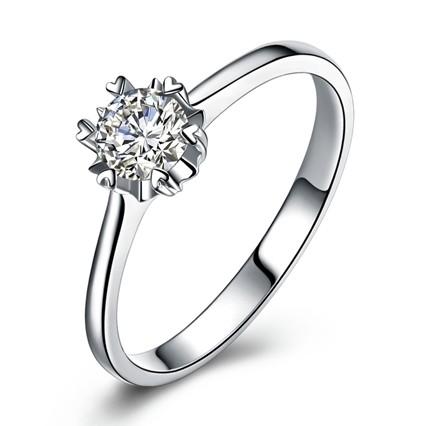 【纯情】 白18K金30分/0.30克拉钻石女士戒指
