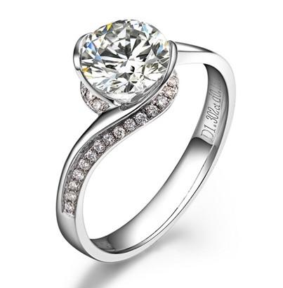 【倾城】白18K金0.3克拉钻石女士戒指