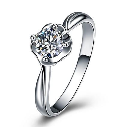【温情】 白18K金50分/0.5克拉顶级钻石女士戒指