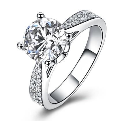 【巴黎盛典】 白18K金50分/0.5克拉钻石女士戒指