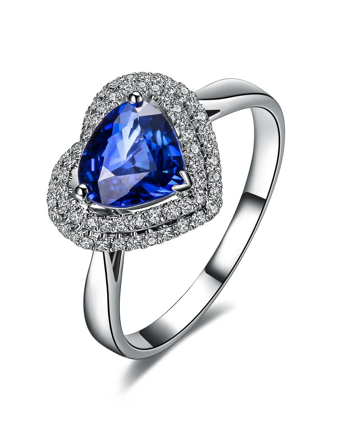 》》点击进入【灵心幽美】 白18K金蓝宝石戒指 正品珠宝