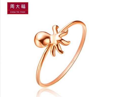 周大福K-gold系列鱼悦时尚章鱼18K金戒指E 110916
