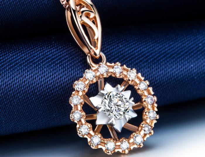 【轮盘】 玫瑰金18分/0.18克拉钻石女士吊坠