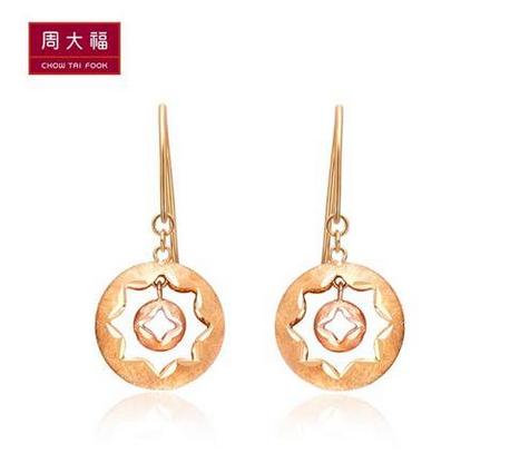 周大福K-gold系列双色18K金耳环E 109568