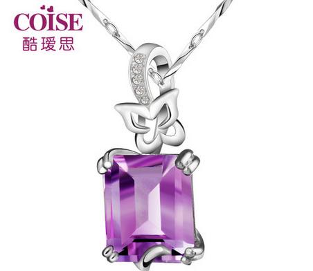 925纯银项链韩版 女款纯天然紫水晶吊坠 原创饰品 送女友生日礼物