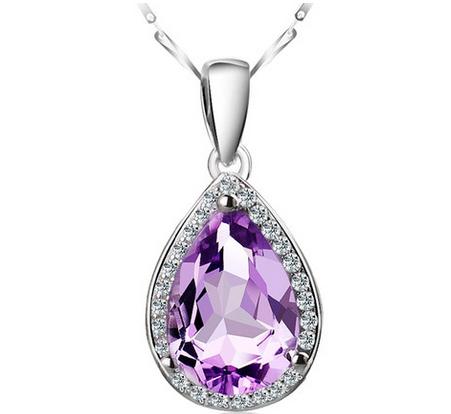 925纯银项链 韩版 天然紫水晶粉晶吊坠 韩国女款 银饰品生日礼物