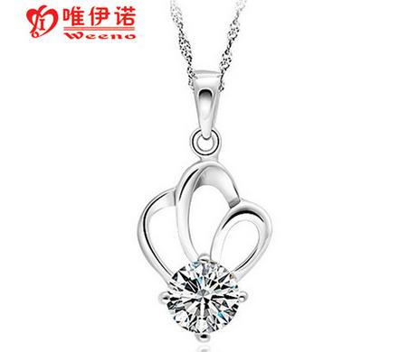 唯伊诺 925纯银吊坠女 公主 韩版时尚 银饰吊坠 项链 情人节礼物