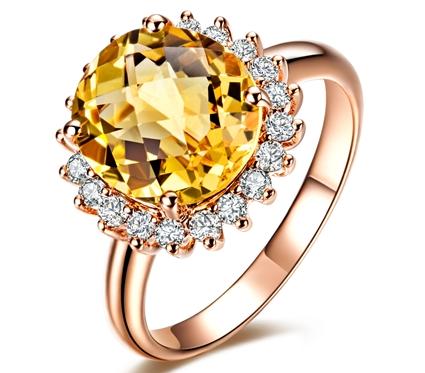 【贵妃】 18K玫瑰金黄水晶戒指