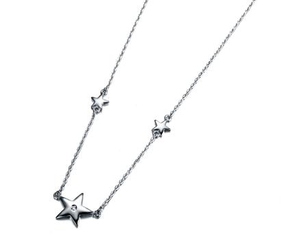 【星语】 纯银1分/0.01克拉钻石女士项链