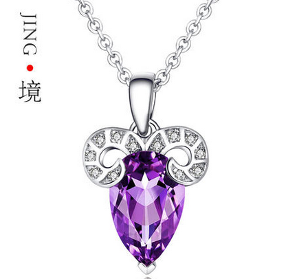 境珠宝 白羊座天然紫水晶托帕石项链女S925纯银吊坠 星座生日礼物
