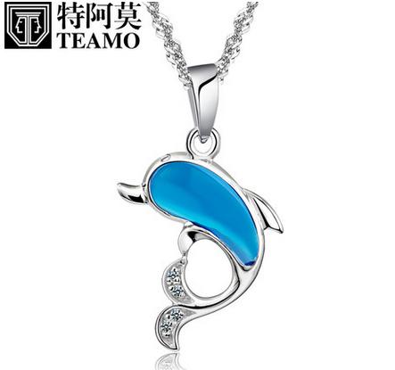 特阿莫s925纯银项链镀铂金水晶海豚吊坠女士款生日礼物时尚饰品
