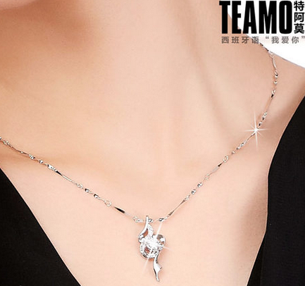 包邮纯银项链925银饰品吊坠 女款钻石项坠 短款锁骨链 可刻字礼物