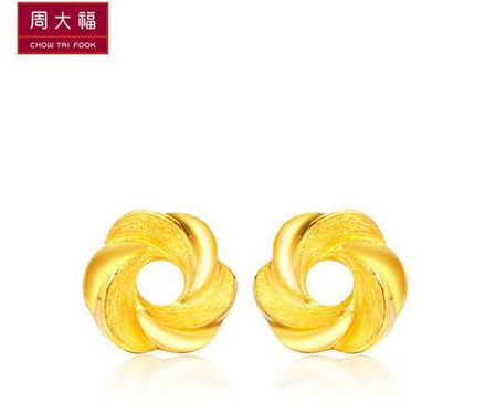 周大福精美漩涡拉丝精致黄金耳环(工费:118 计价)F 169051