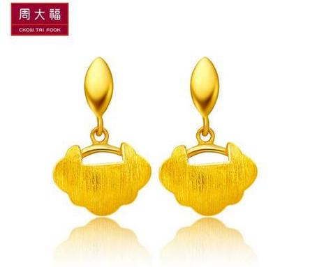 周大福小巧金锁黄金耳环(工费:118 计价)F 166670