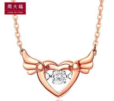 「网络专款」周大福怦然心动系列双色10K金钻石链/项坠CU 3292
