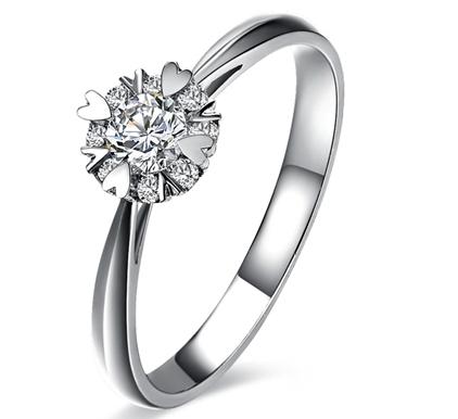 【璀璨星辰】 白18K金0.24克拉钻石女士戒指
