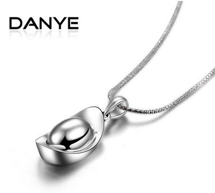 Danye 925纯银项链 短款锁骨链女吉祥小元宝吊坠 实心项坠