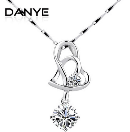 danye 925纯银项链 瑞士钻 心心相偎吊坠 女 韩版时尚
