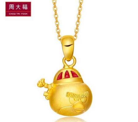 【新品】周大福愤怒的小鸟系列红鸟足金黄金吊坠R 12717