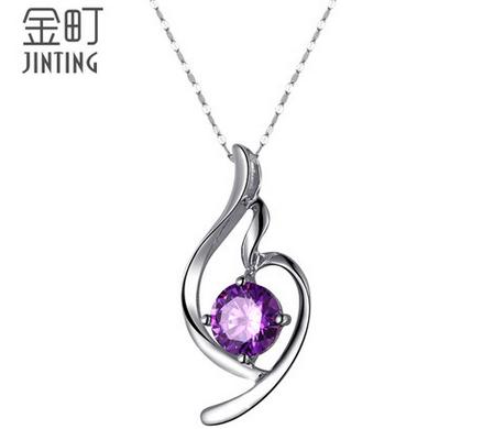 925纯银饰品项链 紫幽水晶钻吊坠 锁骨链 装饰项链女款 生日礼物