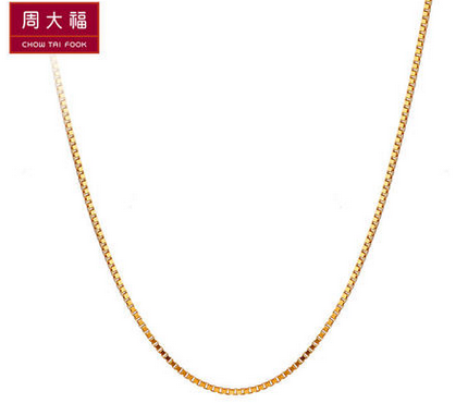 周大福时尚优雅光身18K金项链E 51