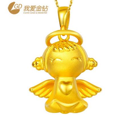 GD我爱金钻 千足金3D硬吊坠黄金 福星宝宝天使吊坠女 黄金吊坠