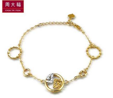 周大福官方正品K-gold系列双色18K金手链E 105644